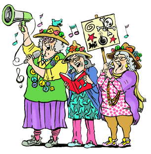 Illustration of the Grannies Protesting